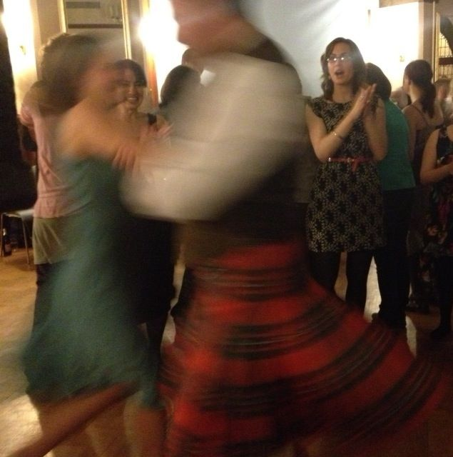Two people mid ceilidh